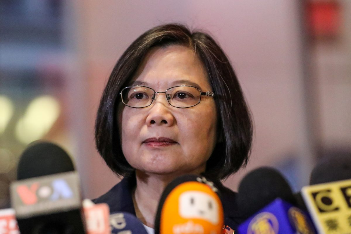 Taiwan President Tsai Ing-wen speaks at Taipei Economic and Cultural Office in New York during her visit to the U.S., in New York City