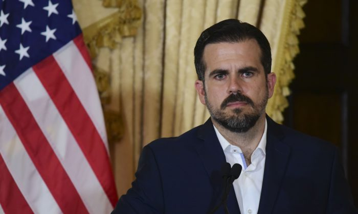 Puerto Rico governor Ricardo Rossello holds a press conference, almost two days after federal authorities arrested the island's former secretary of education and five other people on charges of steering federal money to unqualified, politically connected contractors, in San Juan, Puerto Rico on July 11, 2019. (Carlos Giusti/AP)