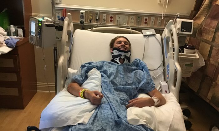 Alexander Harris shattered a vertebrae in his neck during his professional motocross debut. (Courtesy of Peggy Harris)