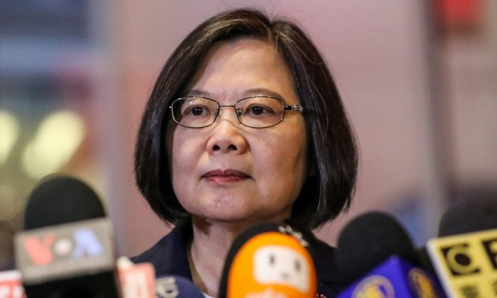 Taiwan President Tsai Ing-wen speaks at Taipei Economic and Cultural Office in New York during her visit to the US on July 11, 2019. (Jeenah Moon/Reuters)