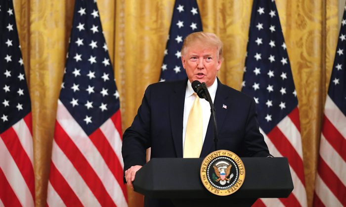 President Donald Trump speaks during a social media summit in the East Room of the White House in Washington, on July 11, 2019. (Carlos Barria/Reuters)