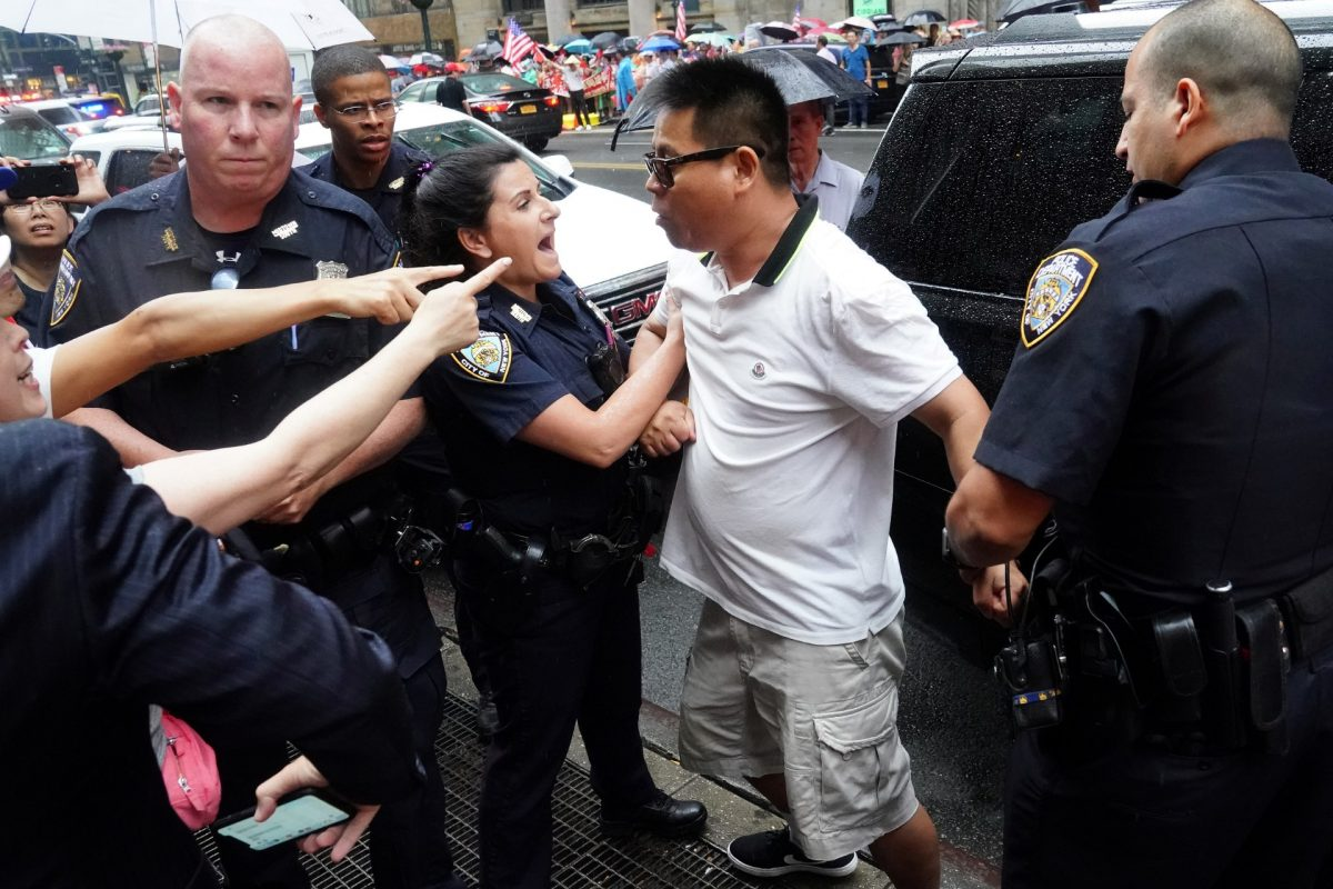2019-07-12 police arrest pro china protester_TAIWAN-CHINA