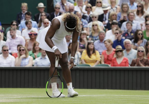 United States' Serena Williams is dejected after losing a point during the women's singles final match against Romania's Simona Halep