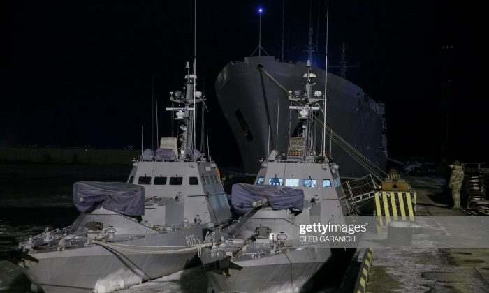 Two Ukrainian gunboats, similar to those seized by Russia on Nov. 25, 2018, are seen in the Azov Sea port of Mariupol, on December 2, 2018. (GLEB GARANICH/AFP/Getty Images)