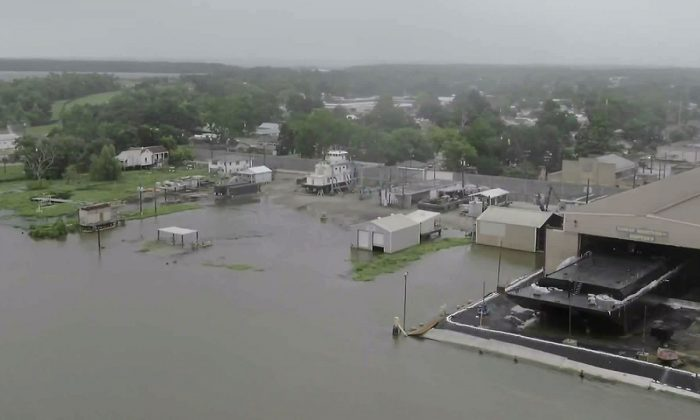 Early signs of flooding from Barry are seen Friday via drone in Morgan City, Louisiana, on July 13,2019. (CNN)