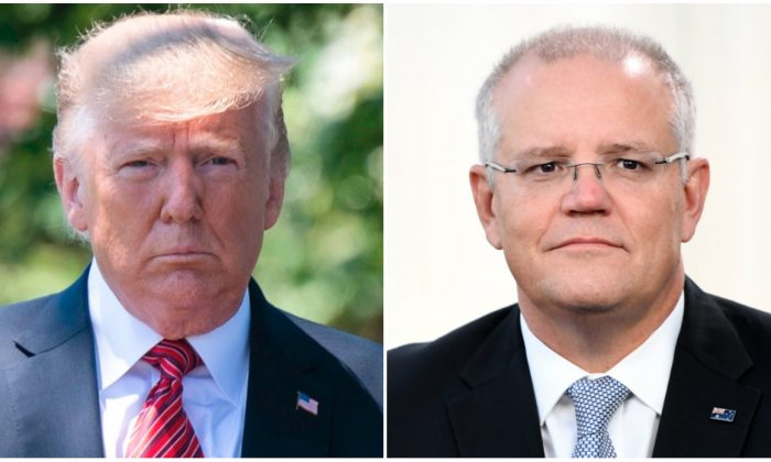 L: President Donald Trump walks out of the Oval Office to speak with reporters at the White House on June 11, 2019. (Jim Watson/AFP/Getty Images) R: Prime Minister Scott Morrison during a television interview in front of Parliament House in Canberra, Australia, on April 3, 2019. (Tracey Nearmy/Getty Images)