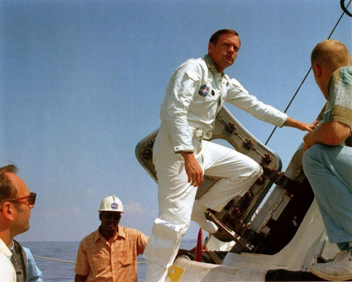 Neil Armstrong entering the module