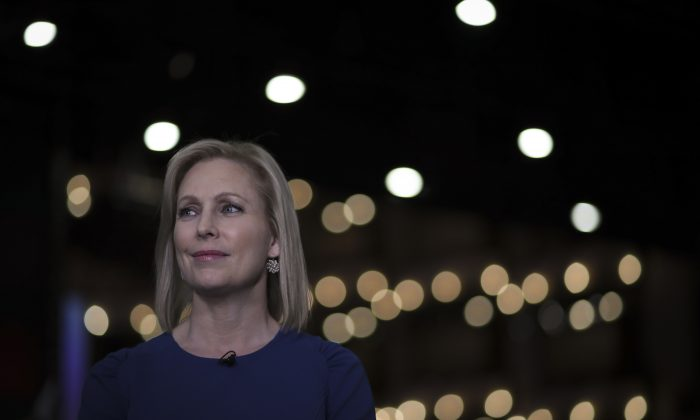 Democratic presidential candidate Sen. Kirsten Gillibrand (D-N.Y.) does a television interview in the spin room after the second night of the first Democratic presidential debate in Miami, Fla., on June 27, 2019.  Drew Angerer/Getty Images