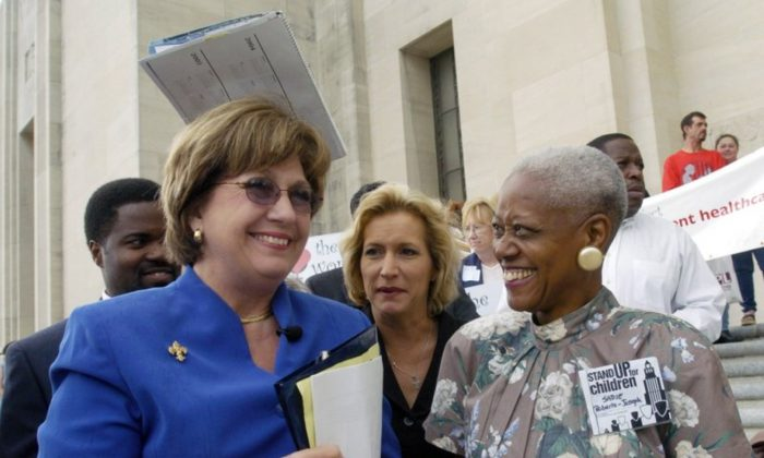 Gov. Kathleen Blanco, left, talks with Sadie Roberts-Joseph, right, before the start of the Stand Up for Children 2004 Rally on the steps of the State Capitol in Baton Rouge, La., on April 20, 2004.  (Arthur D. Lauck/The Advocate)