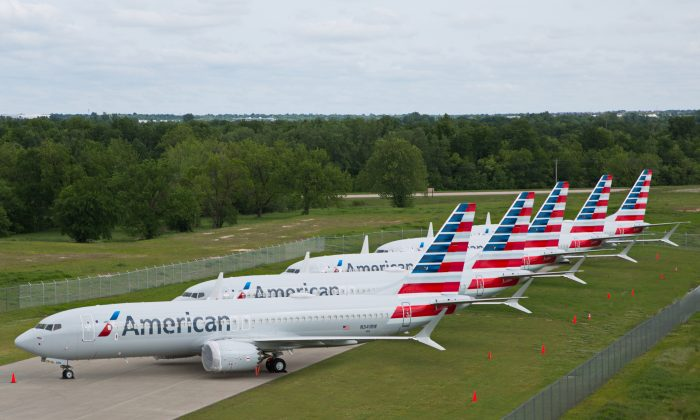 American Airlines Boeing 737 MAX jets sit parked at a facility in Tulsa, Okla., on May 10, 2019. (American Airlines/Handout via Reuters)