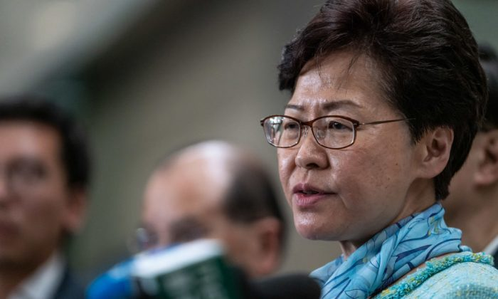 Carrie Lam, Hong Kong's chief executive, speaks during a news conference in Hong Kong on July 2, 2019. (Anthony Kwan/Getty Images)