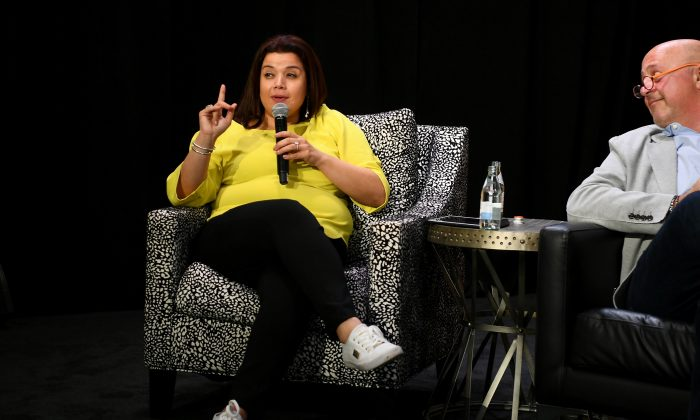 Ana Navarro (L) and Andrew Zimmern speak at the Food Network & Cooking Channel New York City Wine & Food Festival. (Dave Kotinsky/Getty Images for NYCWFF)