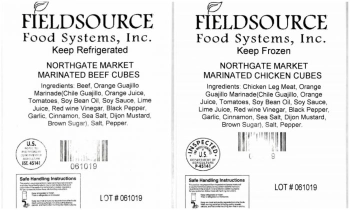 A californian company announced a recall of uncooked, marinated, diced beef and chicken cubes that were produced from June 9 through July 10, 2019.(USDA)