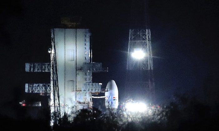 Indian Space Research Organization (ISRO)'s Geosynchronous Satellite launch Vehicle MkIII carrying Chandrayaan-2 stands at Satish Dhawan Space Center after the mission was aborted at the last minute at Sriharikota, in southern India, on July 15, 2019. (Manish Swarup/AP Photo)
