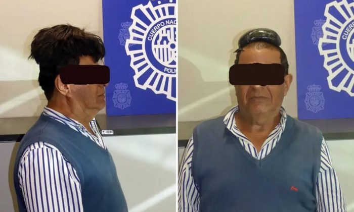 Police in Spain have published a photograph of a man arrested at an airport in Barcelona on suspicion of smuggling cocaine under a wig. (Spanish National Police)