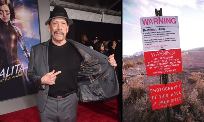 Actor Danny Trejo at a film premiere in Los Angeles, Cali., on Feb 5, 2019, and a warning sign marking the boundary of Area 51, in Rachel, Nev. (Alberto E. Rodriguez/Getty Images / Dan Callister/Getty Images)
