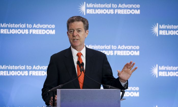 Sam Brownback, U.S. Ambassador-at-Large for International Religious Freedom, at the Ministerial to Advance Religious Freedom at the Department of State in Washington on July 16, 2019. (Samira Bouaou/The Epoch Times)