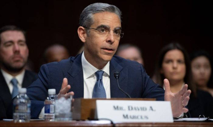 David Marcus, Head of Calibra at Facebook, testifies about Facebook's proposed digital currency called Libra, during a Senate Banking, House and Urban Affairs Committee hearing on Capitol Hill in Washington, on July 16, 2019. (SAUL LOEB/AFP/Getty Images)