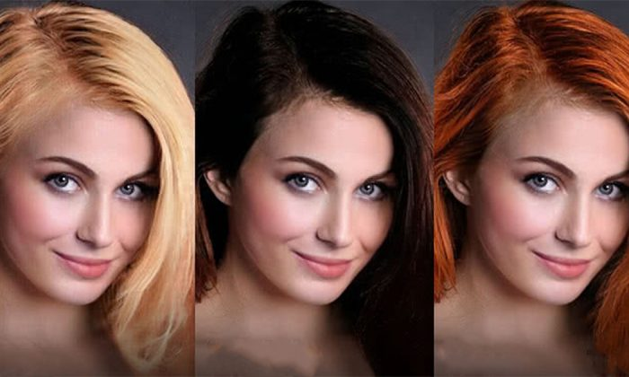 An undated demonstration of how FaceApp can be used to view different hair colors. (Courtesy of FaceApp)