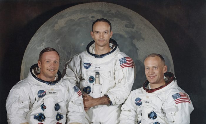 The three crew members of NASA's Apollo 11 lunar landing mission pose for a group portrait a few weeks before the launch, May 1969. From left to right, Commander Neil Armstrong, Command Module Pilot Michael Collins and Lunar Module Pilot Edwin 'Buzz' Aldrin Jr.  Space Frontiers/Getty Images