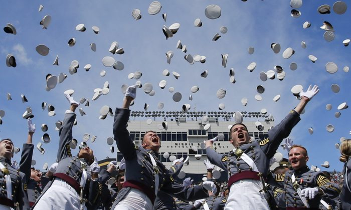West Point graduates toss their hats in the air at the conclusion of the U.S. Military Academy Class of 2017 graduation ceremony at Michie Stadium on May 27, 2017 in West Point, New York. U.S. Defense Secretary Jim Mattis addressed the 950 graduating cadets during the ceremony.  Eduardo Munoz Alvarez/Getty Images