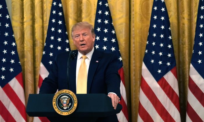 """President Donald Trump speaks during a """"Presidential Social Media Summit"""" in the East Room of the White House on July 11, 2019, in Washington, DC. (Alex Wong/Getty Images)"""
