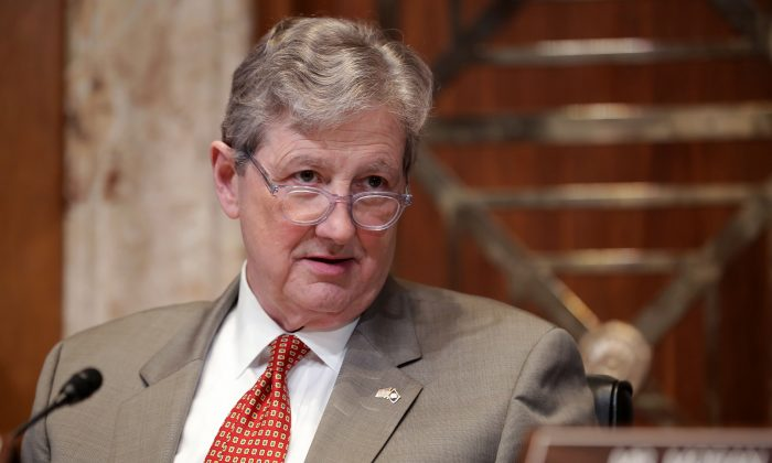 Senate Financial Services and General Government Subcommittee Chairman John Kennedy (R-LA) listens to Federal Communication Commission Chairman Ajit Pai and Federal Trade Commission Chairman Joseph Simons testify about their FY2020 budget requests in the Dirksen Senate Office Building on Capitol Hill in Washington on May 7, 2019. (Chip Somodevilla/Getty Images)