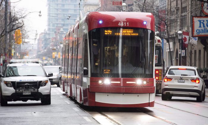 A Toronto Transit Commission streetcar produced by Bombardier in a file photo. Bombardier is laying off 550 employees from its Thunder Bay operation as rail contracts come to an end. The company is also blaming U.S. Buy America provisions for the need to relocate operations south of the border. (The Canadian Press//Doug Ives)