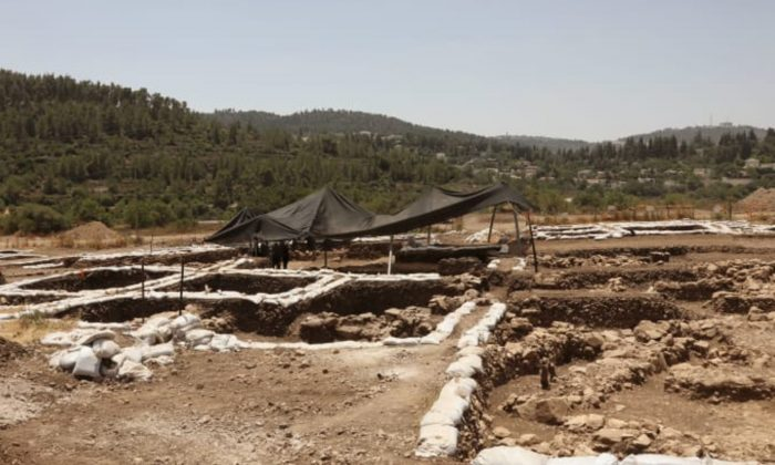 A photograph taken on July 16, 2019 shows a partial view of a settlement from the Neolithic Period (New Stone Age), discovered during archaeological excavations by the Israel Antiquities Authority near Motza Junction, about 5km west of Jerusalem. (Gali Tibbon/AFP/Getty Images)