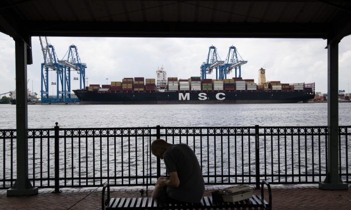 The MSC Gayane container ship on the Delaware River in Philadelphia on June 18, 2019.  (Matt Rourke/AP)