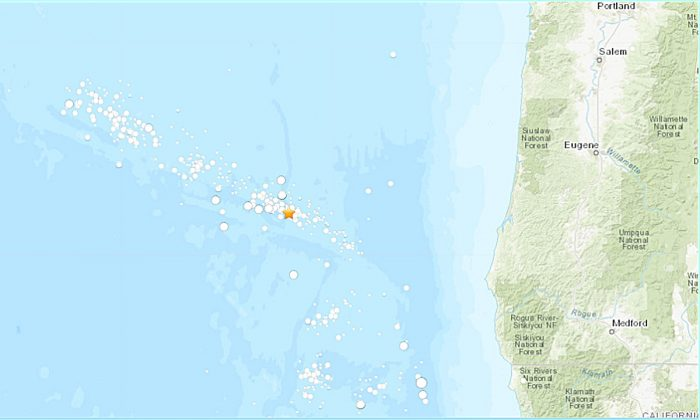 The epicenter of the earthquake 140 miles (227km W) of Bandon, Oregon (USGS)
