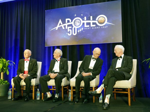 Apollo Legends attend a news conference