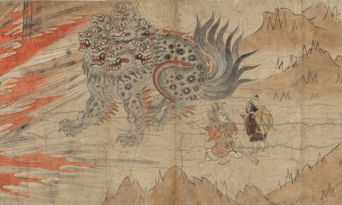 """""""Illustrated Legends of the Kitano Tenjin Shrine,"""" Kamakura period (1185–1333), late 13th century. An ancient Shinto belief that the calamitous forces of nature are animated by tormented human spirits underlies the legendary origin of the Kitano Tenjin shrine. It is dedicated to Sugawara Michizane (845–903), a distinguished scholar and statesman who died in exile after being slandered by enemies at court. Fletcher Fund, 1925. (The Metropolitan Museum of Art)"""