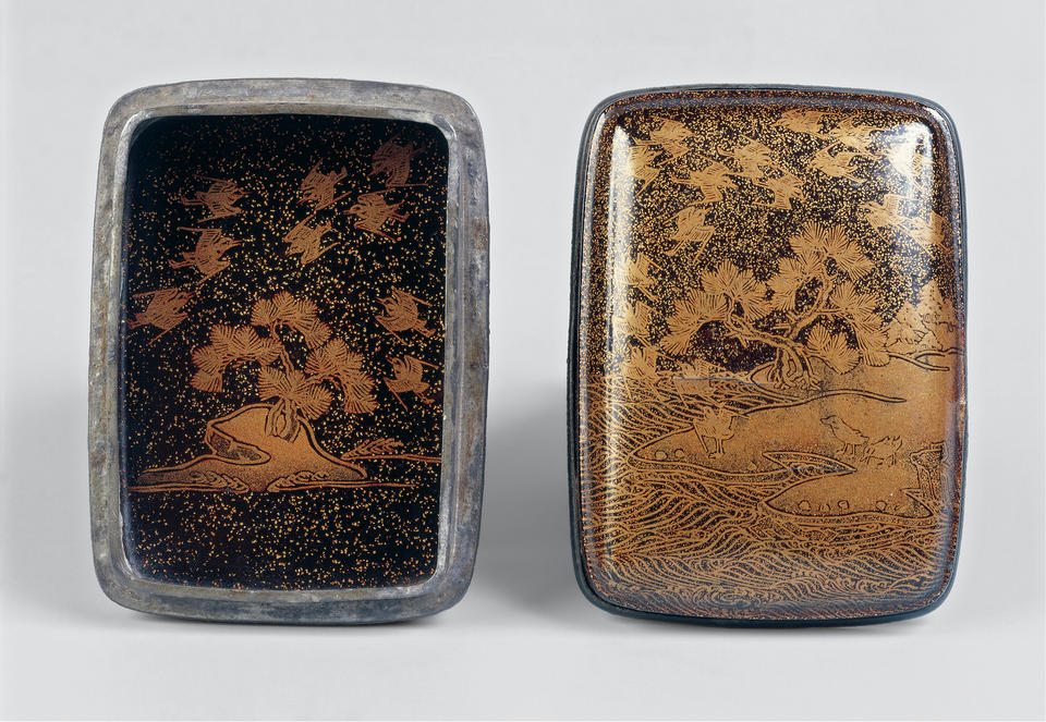 Incense Box (Kogo) with Pines and Plovers