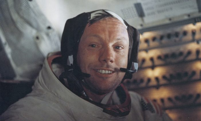 Astronaut Neil Armstrong, Commander of NASA's Apollo 11 lunar landing mission, inside the Lunar Module the 'Eagle' on the surface of the Moon during the mission on July 20, 1969. (Space Frontiers/Getty Images)