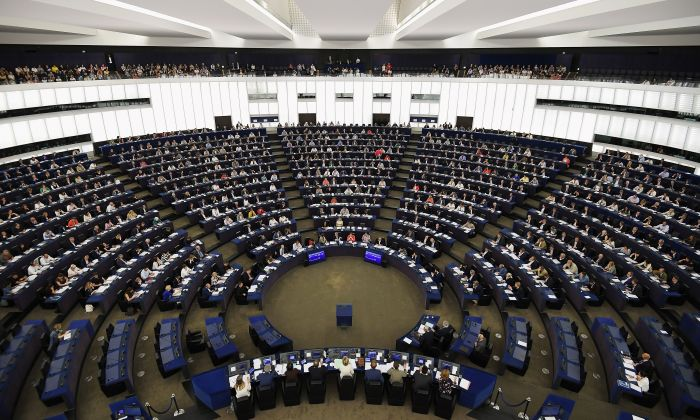 Members of the European Parliament take part in a voting session during a plenary session at the European Parliament in Strasbourg, France, on July 18, 2019. 