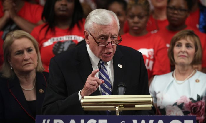 U.S. House Majority Leader Rep. Steny Hoyer (D-Md.) speaks during a news conference prior to a vote on the Raise the Wage Act at the Capitol in Washington on July 18, 2019. (Alex Wong/Getty Images)