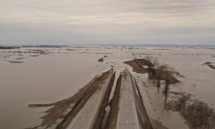 Floodwater covers Highway 2 near Sidney, Iowa on March 23, 2019. This year, midwest states have battled some of the worst flooding they have experienced in decades. (Scott Olson/Getty Images)