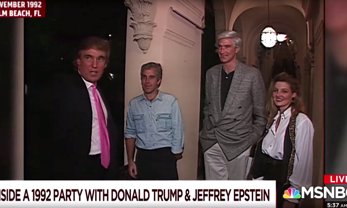 A screenshot of a video taken by NBC News in 1992 shows Donald Trump welcoming several guests, including Jeffrey Epstein, to a party at his Mar-a-Lago resort in Palm Beach, Fla. Trump would later ban Epstein from the resort. (Screenshot/NBC)