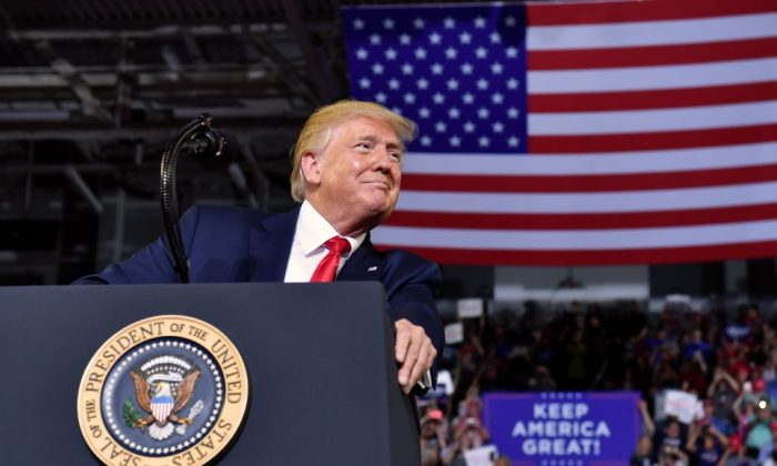 "President Donald Trump gestures as he speaks at a ""Make America Great Again"" rally at Minges Coliseum in Greenville, North Carolina, on July 17, 2019. (Nicholas Kamm/AFP/Getty Images)"
