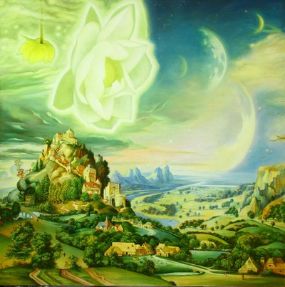 The idea for this oil painting of an idyllic village with a sacred lotus flower blooming in a distant galaxy came to Huang Guangyu in a dream. (Minghui.org)