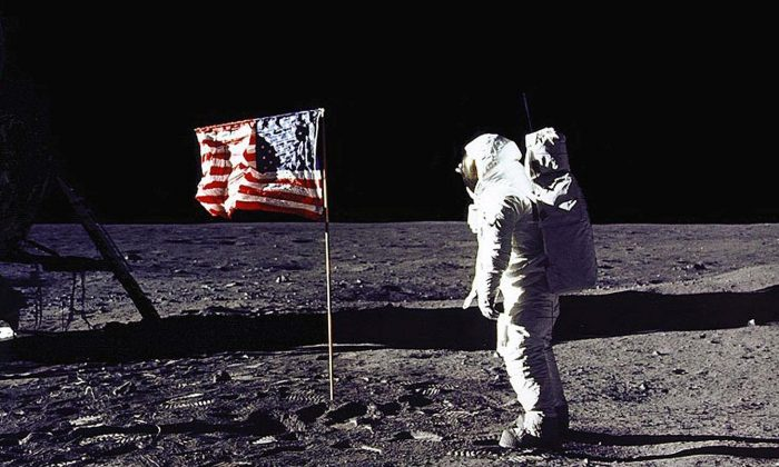 "Astronaut Edwin E. ""Buzz"" Aldrin Jr. salutes the U.S. flag on the surface of the Moon on July 20, 1969. (NASA/AFP/Getty Images)"