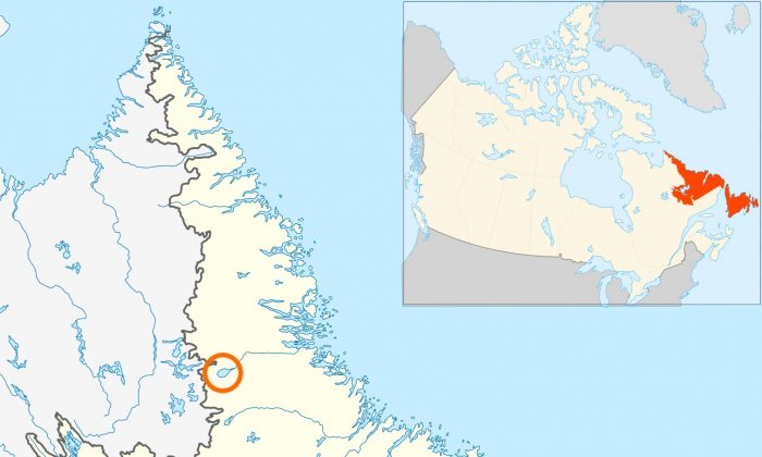 Map of Newfoundland and Labrador in Canada. The circle represents where Mistastin Lake is located.(Hanhil/Wikimedia Commons[CC BY-SA 3.0 (ept.ms/2Bw5evC)])