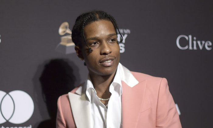 A$AP Rocky at Pre-Grammy Gala And Salute To Industry Icons in Beverly Hills, Calif., on Feb. 9, 2019. (Richard Shotwell/Invision/AP)