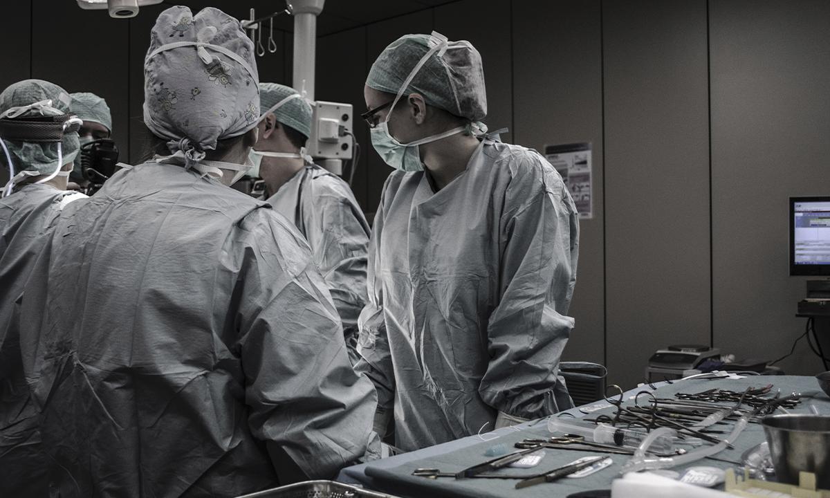 A hospital scene.