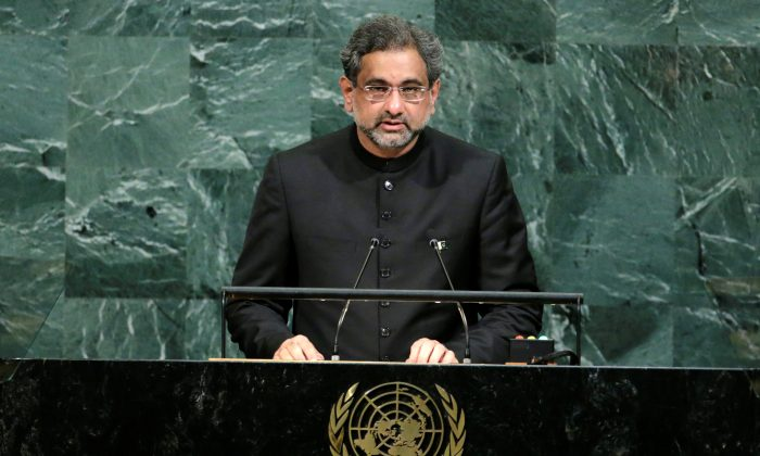 Pakistani Prime Minister Shahid Khaqan Abbasi addresses the 72nd United Nations General Assembly at U.N. headquarters in New York, on Sept 21, 2017. (Eduardo Munoz/File Photo/Reuters)