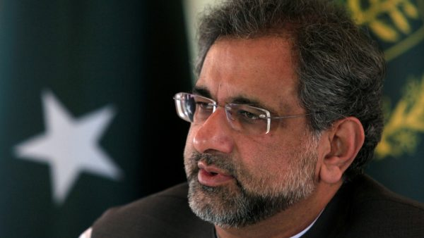 Pakistan's Prime Minister Shahid Khaqan Abbasi speaks with a Reuters correspondent
