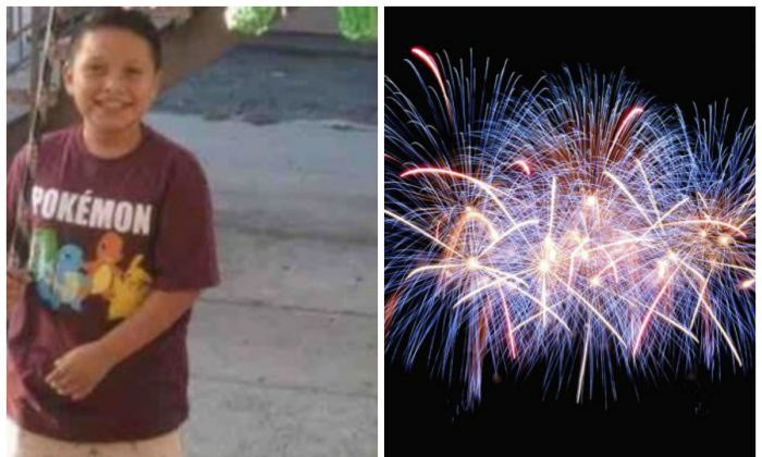 Aaron Carreto, 10, left, was injured when a firework he was handed exploded. On the right, fireworks explode in a file photo. (Aaron's Firework Accident Recovery Fund/GoFundMe; Jingda Chen/Unsplash)