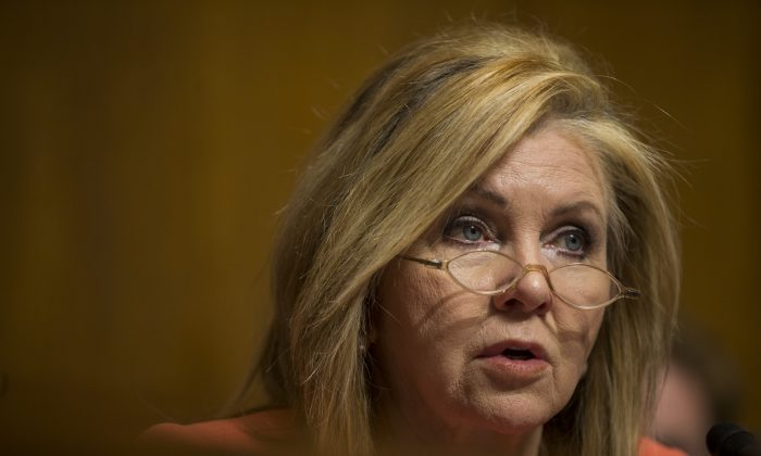 Sen. Marsha Blackburn (R-Tenn.) on Capitol Hill in Washington on Feb. 5, 2019. (Zach Gibson/Getty Images)
