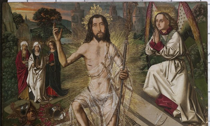 """Resurrection,"" about 1470-5 by Bartolomé Bermejo. Oil and gold on pine panel, 35 1/2 inches by 27 3/16 inches. (Museu Nacional d'Art de Catalunya 2019)"